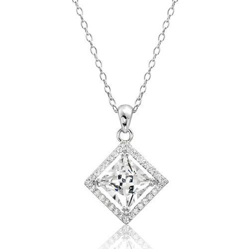 "Sterling Silver /""PRINCESS/"" Pendant Necklace"