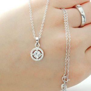 Brilliant Cut CZ Sterling Silver Halo Pendant Necklace