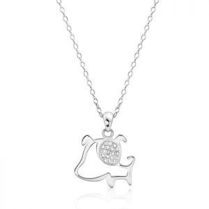 Cubic Zirconia Sterling Silver Cute Dog Necklace