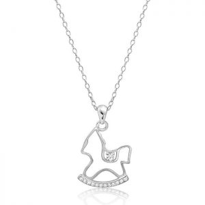 Cute Sterling Silver Rocking Horse Necklace