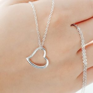Sterling Silver 15mm Heart Necklace
