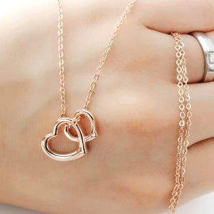 Rose Gold over Silver Double Heart Necklace