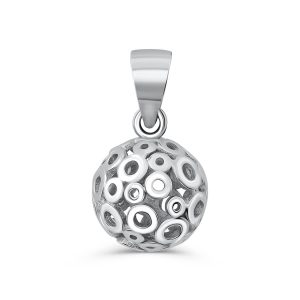 Sterling Silver Polished Hollow Ball Circle Pendant