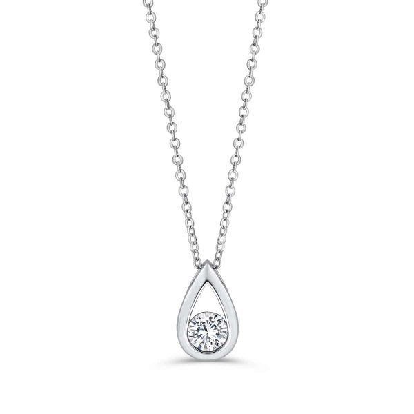 925 Sterling Silver Cubic Zirconia Pear Necklace