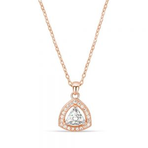 Rose Gold Plated Silver Trillion CZ Pendant Necklace