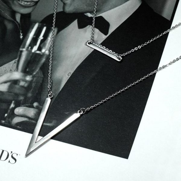 High Polished Bar and V Shape Double Layer Necklace
