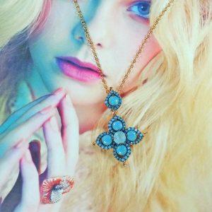Natural Turquoise and Blue Quartz Pendant Necklace