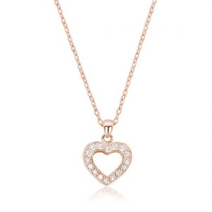 "CZ Glamorous Rose Gold Plated Silver Heart Necklace 16""+ 2"" Extender"