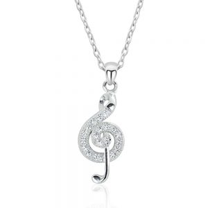 "925 Sterling Silver Cubic Zirconia Wonderful Treble Clef Necklace 16""+ 2"""