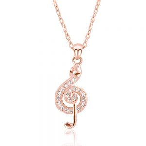 """Rose Gold Plated Silver Cubic Zirconia Wonderful Treble Clef Necklace 16""""+ 2"""""""