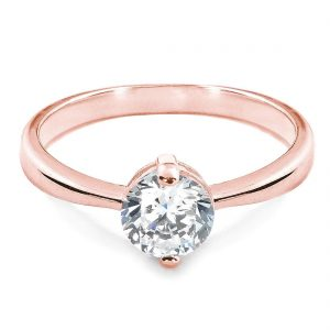 1.4 Carat CZ Solitaire Rose Gold Plated Sterling Silver Ring