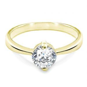 1.4 Carat CZ Solitaire 18K Gold Plated Sterling Silver Ring
