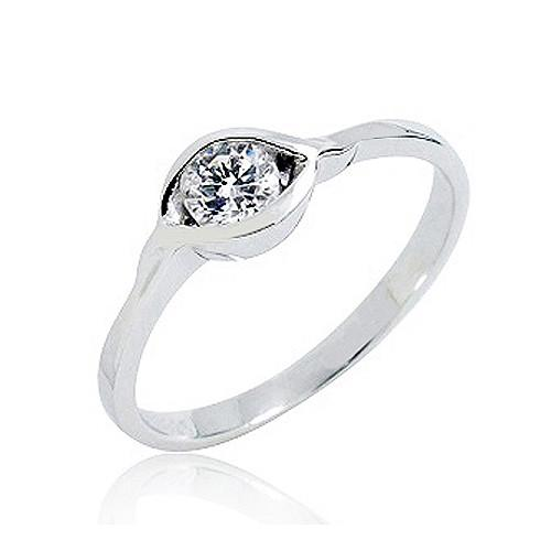 925 Sterling Silver 0.55 Carat Cubic Zirconia Solitaire Ring