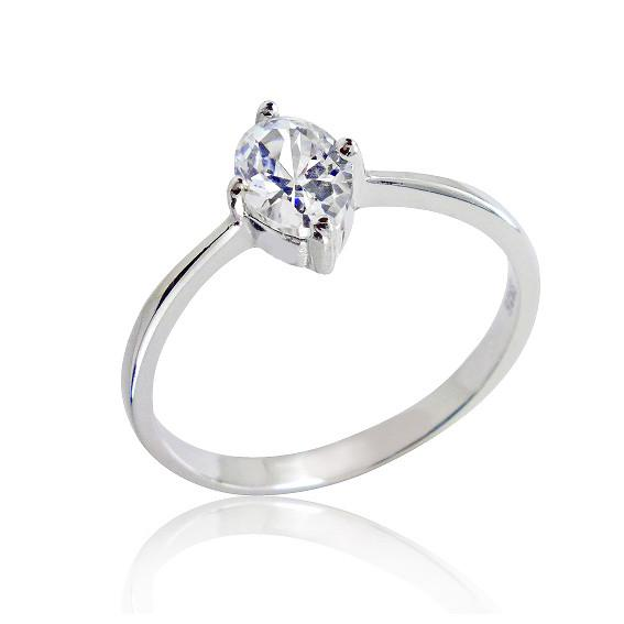 925 Sterling Silver 1.25 Carat Oval Cut Cubic Zirconia Ring