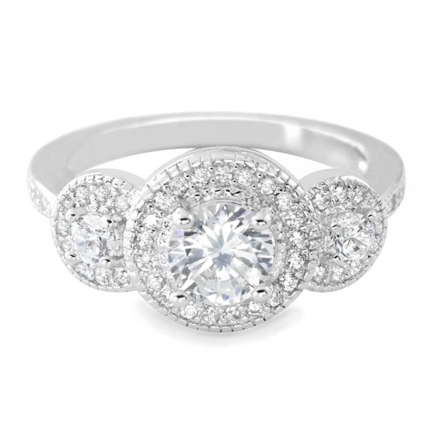 925 Sterling Silver Cubic Zirconia Three Stone Ring