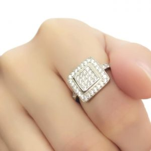 Sterling Silver Cubic Zirconia Square Cluster Ring