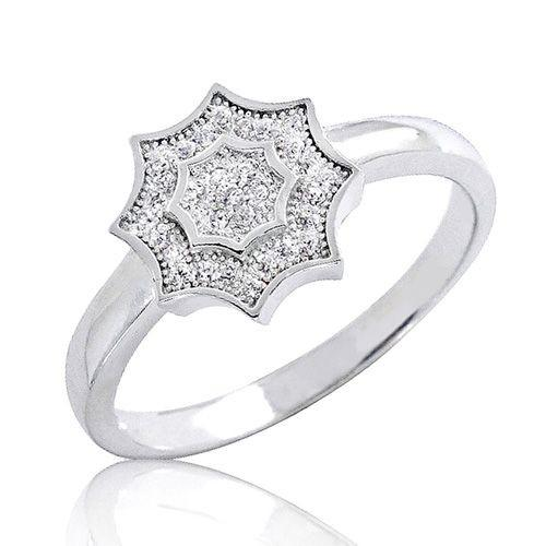 925 Sterling Silver 0.31 Carat CZ Micro Pave Settings Beautiful Star Ring