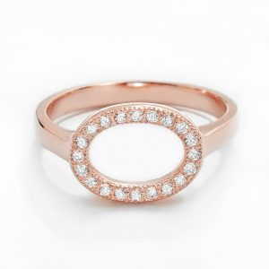 Rose Gold Plated 925 Sterling Silver CZ Circular Ring