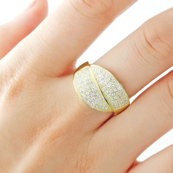 9k Gold Over Silver Micro Pave Setting CZ Gorgeous Ring