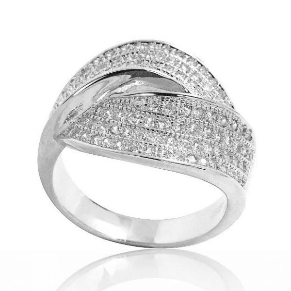 Gorgeous Micro Pave Setting CZ 925 Sterling Silver Ring