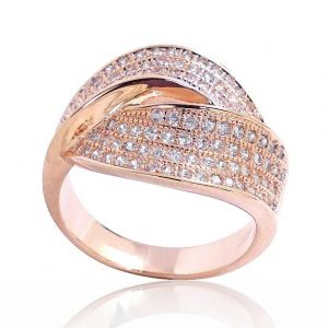 Gorgeous Micro Setting CZ Rose Gold Plated Sterling Silver Ring