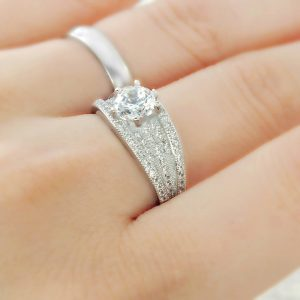 Brilliant Cut & Micro Pave Setting CZ 925 Sterling Silver Ring