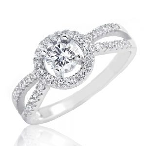 Sterling Silver 1.0 Carat Brilliant Cut Cubic Zirconia Ring