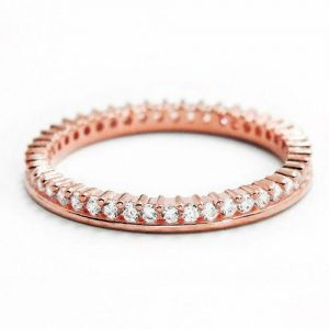 Cubic Zirconia Rose Gold Plated 925 Silver Eternity Fancy Band Ring