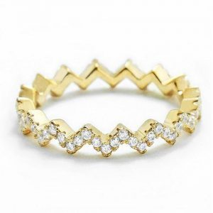 Sterling Silver CZ 18K Gold over Eternity Fashion Band Ring