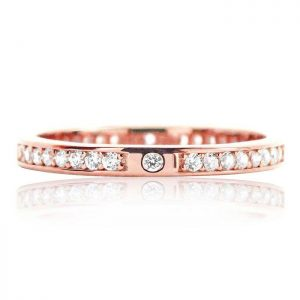 Beautiful 2.2mm Rose Gold Plated Sterling Silver Eternity CZ Ring