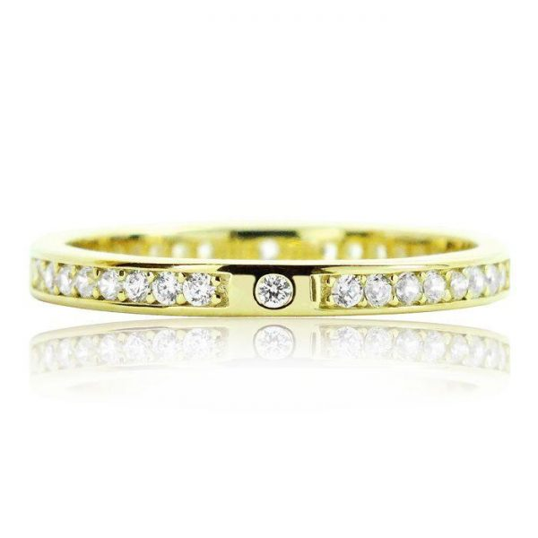 Beautiful 2.2mm Gold Plated 925 Sterling Silver Eternity CZ Ring