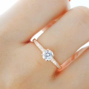 5mm Brilliant Cut CZ Rose Gold Plated 925 Sterling Silver Ring