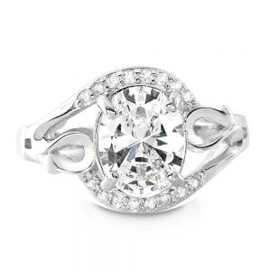 Sterling Silver 4.5 Carat Oval Cut Cubic Zirconia Ring
