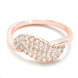 Beautiful Pave Setting Cubic Zirconia Rose Gold Over Silver Ring