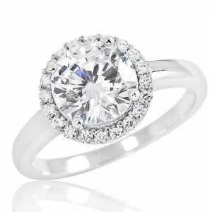 Gorgeous 925 Sterling Silver 8mm Brilliant Cut Cubic Zirconia Ring