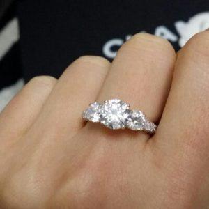 Elegant Sterling Silver Three Stone CZ Ring