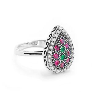 Multi Color Crystal Vintage Silver Ring