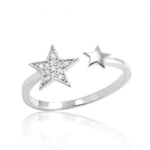 Cubic Zirconia Sterling Silver Fashion Star Ring