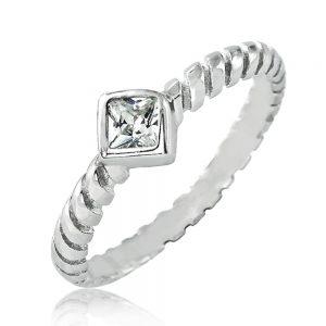 Princess Cut CZ Sterling Silver Fashion Ring
