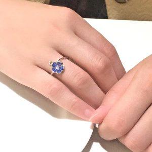 Sterling Silver Blue Flower Enamel Ring