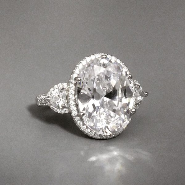 Sterling Silver Hand Cut Oval CZ Ring